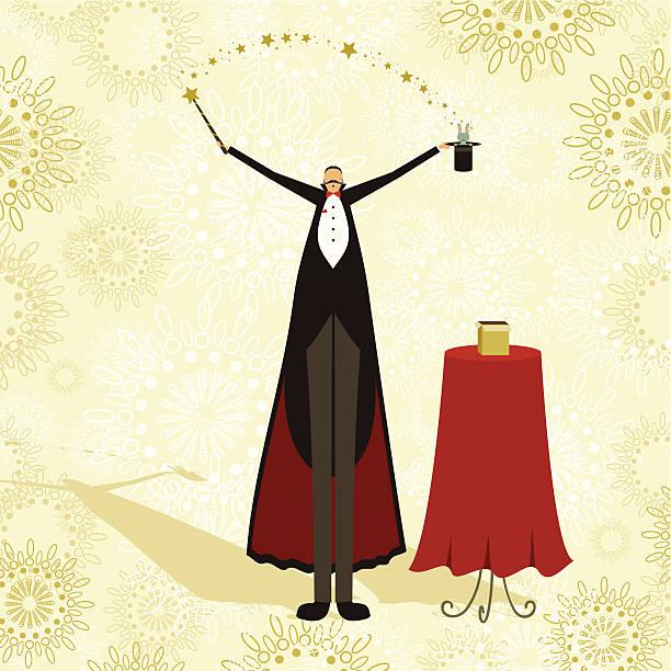 Magician and rabbit circus show vector art illustration