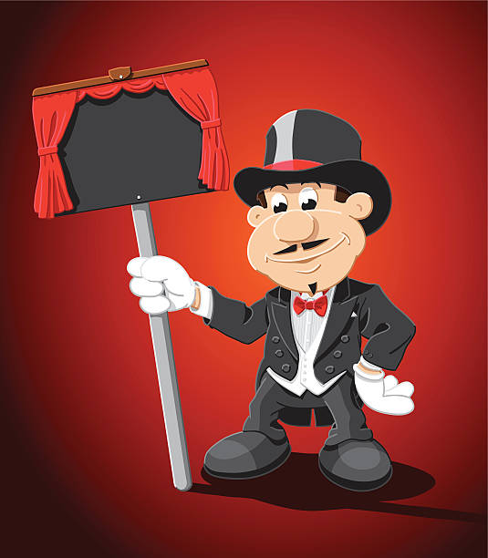 "Magician Cartoon Man Blank Sign ""Vector Illustration of a cartoon magician, who is holding a blank black sign with a red curtain decoration. The background is on a separate layer, so you can use the illustration on your own background. The colors in the .eps-file are ready for print (CMYK). Included files: EPS (v8) and Hi-Res JPG."" cartoon people sign stock illustrations"