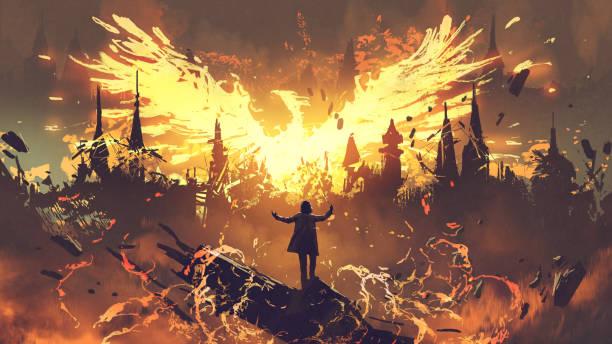 magician summoning the phoenix creature vector art illustration