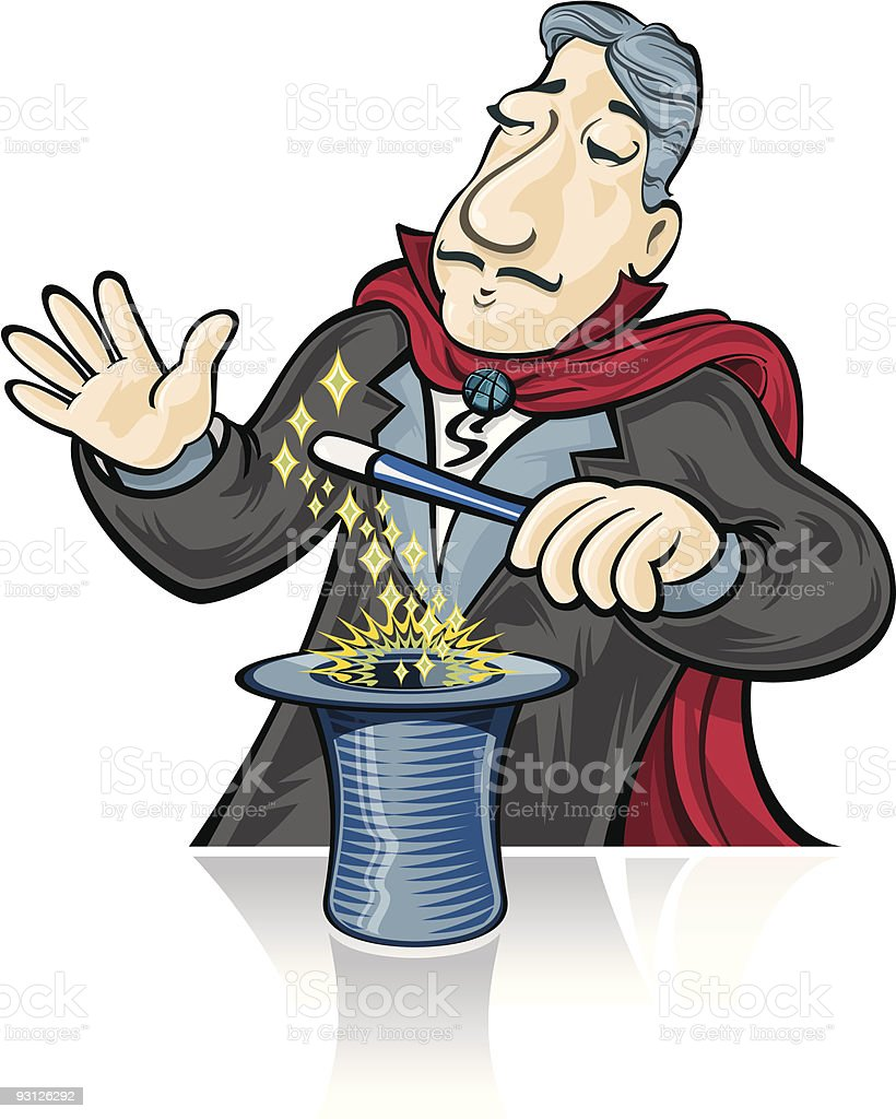 Magician with Hat vector art illustration