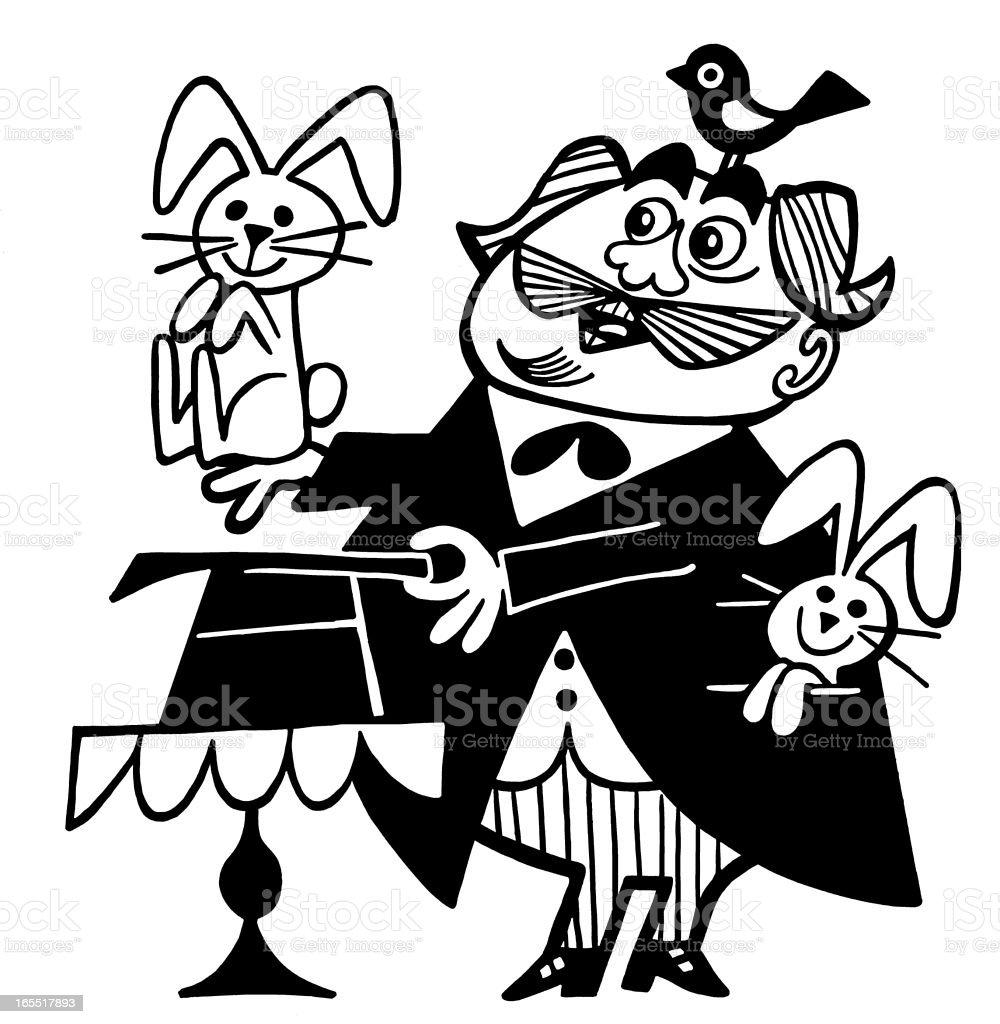 Magician with Rabbits royalty-free stock vector art