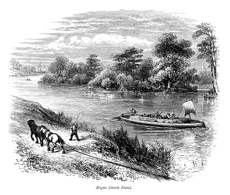 Magna Carta Island in the River Thames (Victorian engraving)