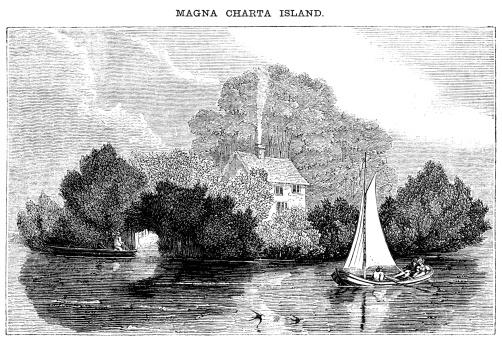 Magna Carta Island, Runnymede (Victorian woodcut)