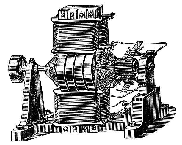 Magneto-electric machine vector art illustration