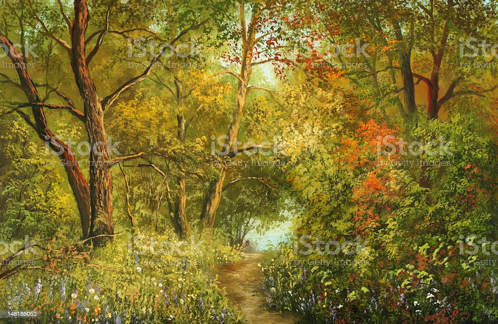 Magnificent foliage Painting. A canvas, oil. Art stock illustration