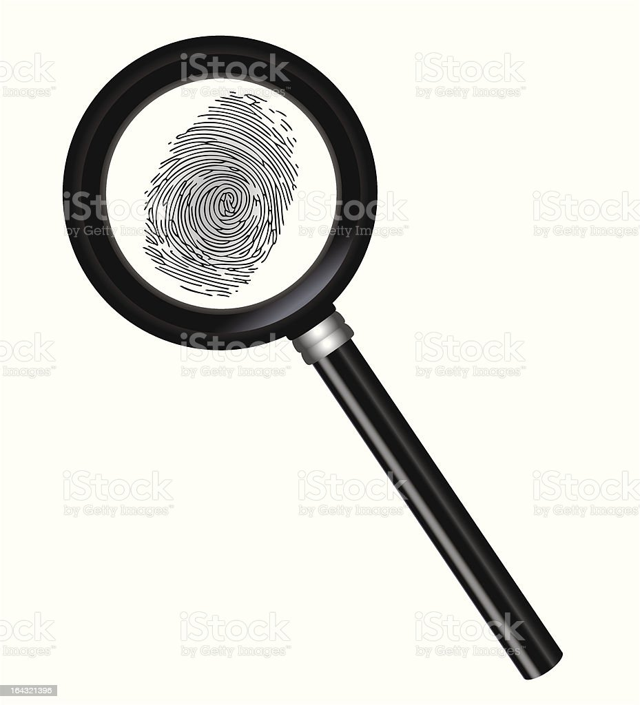 Magnifier and fingerprint royalty-free stock vector art