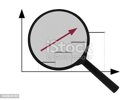 Magnifier and upward red arrow isolated on white background. Business success. Investment plan and business growth.