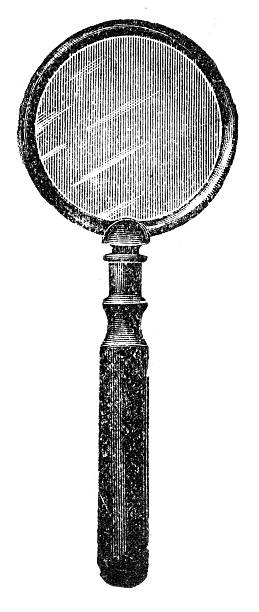 magnifier zoom tool etching stock illustrations