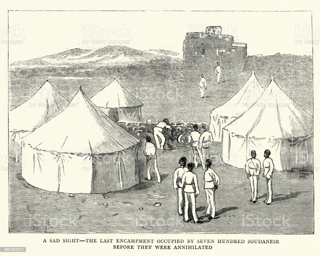 Mahdist War - Loyalist sudanese army camp, 1884 vector art illustration