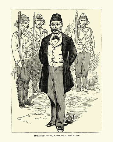 Vintage illustration of Mahmoud Fahmy, Chief of Ahmed 'Urabi staff, during the British Conquest of Egypt (1882), 19th Century