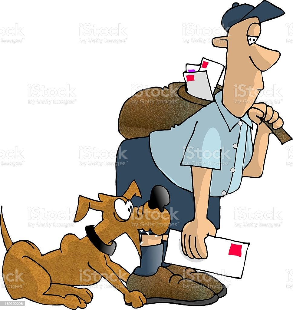 Mail man being bitten by a dog royalty-free stock vector art