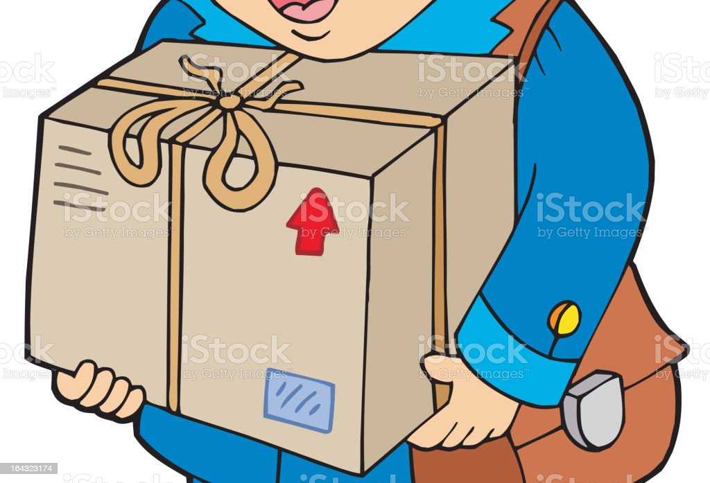 Mailman delivering box royalty-free stock vector art