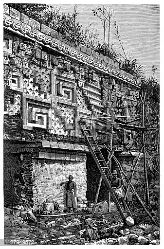 Illustration of a Main entrance to the governor's palace in Uxmal