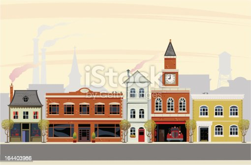 This is a vector illustration of any town main street. The scene is set in the morning with a number of victorian buildings conceived in a retro style. Smoke stacks and smokey chimneys give this an early fall look with cool weather.