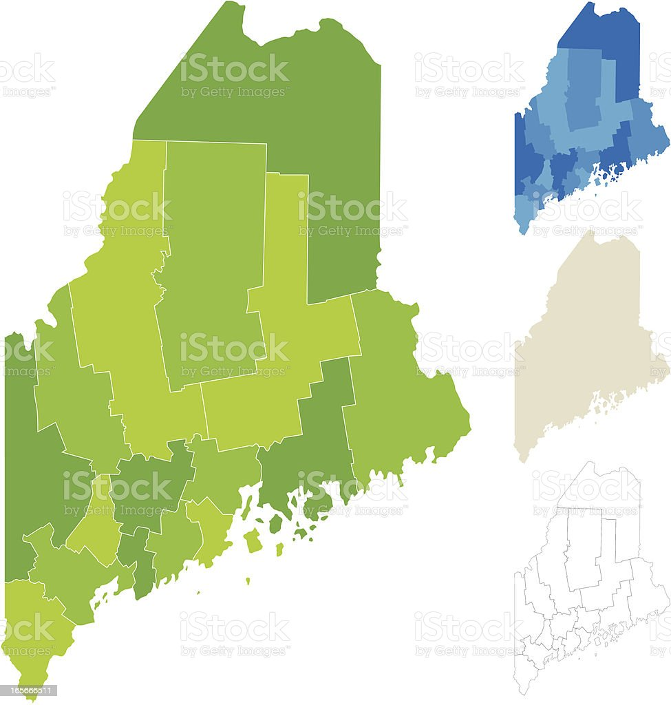 Maine County Map vector art illustration
