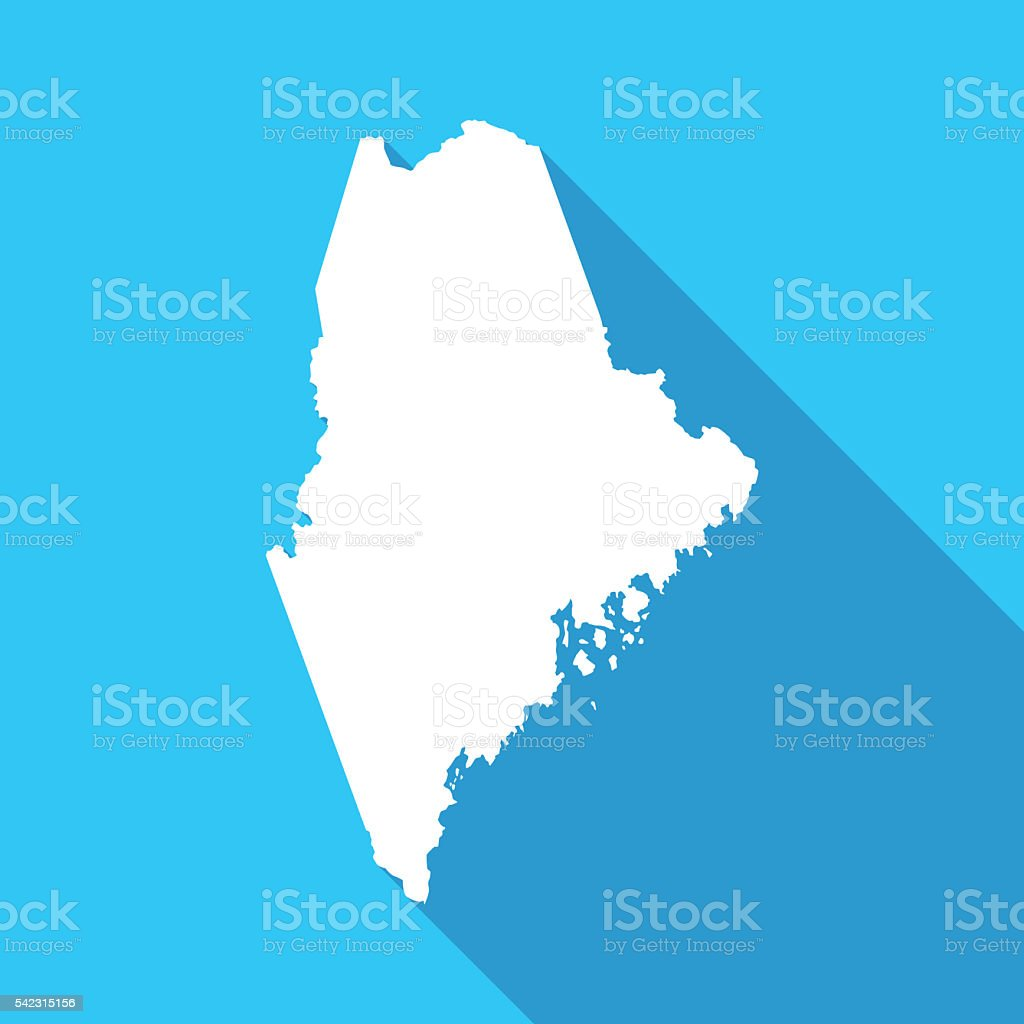 Maine long shadow map in white on a blue background vector art illustration