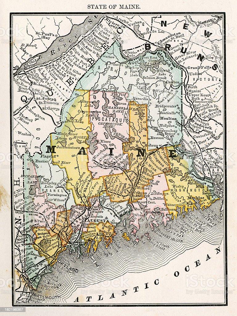 Maine Usa Antique Maps High Resolution Stock Illustration ...