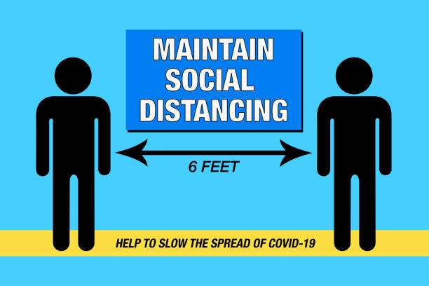 maintain social distancing, covid-19— illustration - social distancing stock illustrations