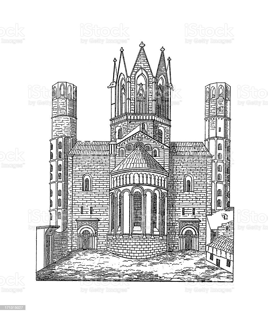 Mainz Cathedral, Germany | Antique Architectural Illustrations vector art illustration