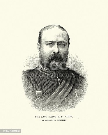 istock Major E.B. Nixon, British army officer murdered in Burma, 1891 1207815831