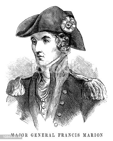 Major General Francis Marion - Scanned 1855 Engraving