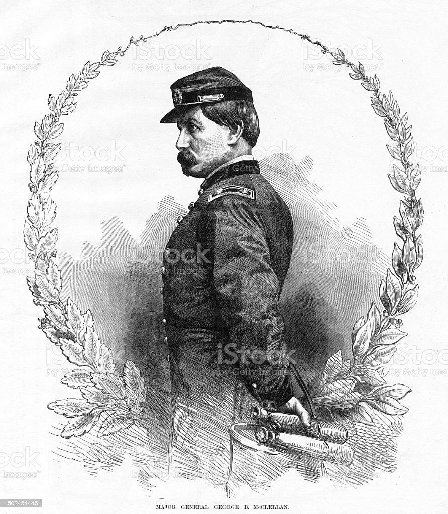 Major General George B. McClellan vector art illustration