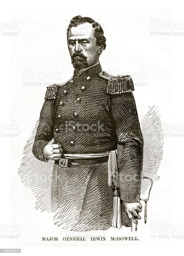 Major General Irwin McDowell Civil War Engraving vector art illustration