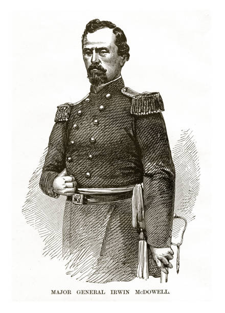 Major General Irwin McDowell Civil War Engraving vector art illustration