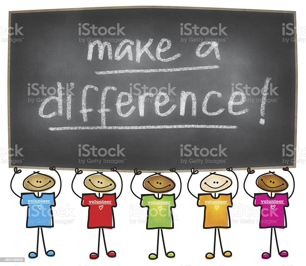 Make a Difference: Volunteer vector art illustration