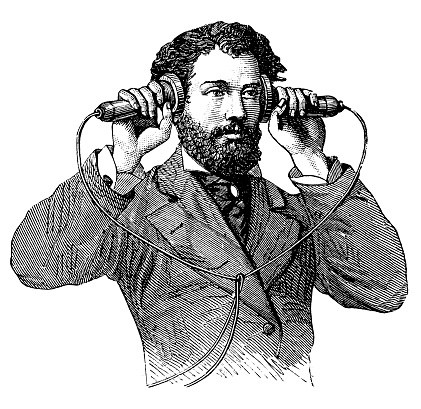 Illustration of a making a call on antique telephone