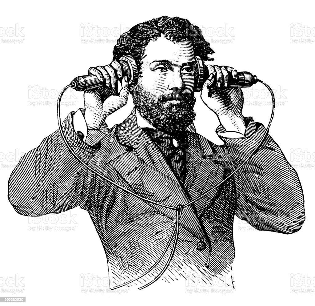 Making a call on antique telephone vector art illustration