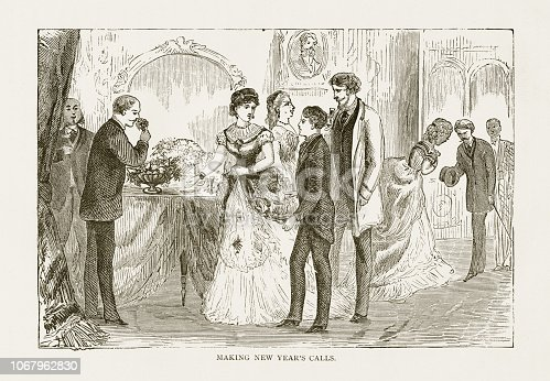 istock Making New Year's Calls Victorian Engraving, 1879 1067962830