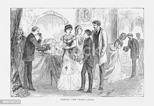 istock Making New Year's Calls Victorian Engraving, 1879 689435220