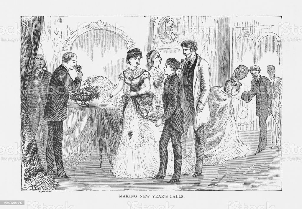 Making New Year's Calls Victorian Engraving, 1879 vector art illustration