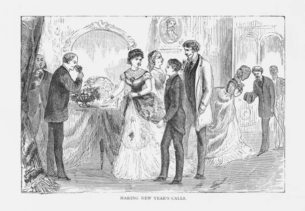 making new years calls victorian engraving 1879 vector art illustration