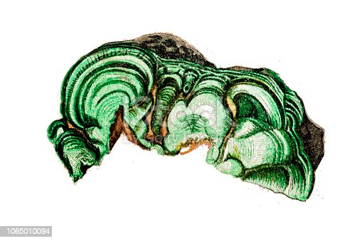 Illustration of a Malachite stone is a copper carbonate hydroxide mineral
