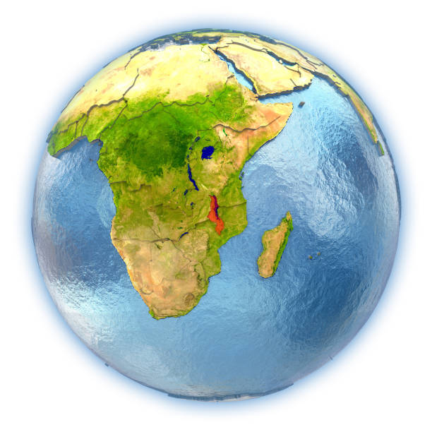 Malawi en un globo aislado - ilustración de arte vectorial