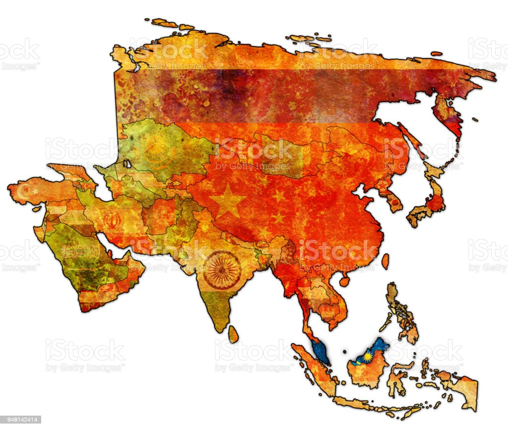 Map Of Asia Malaysia.Malaysia Flag On Political Map Of Asia Stock Illustration Download