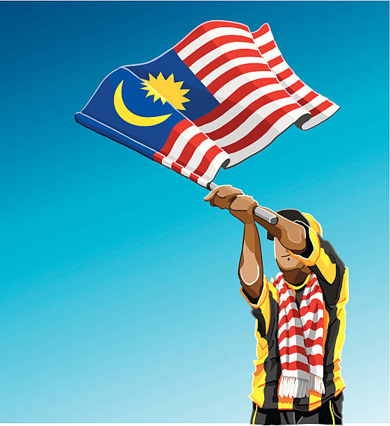 """Malaysia Waving Flag Soccer Fan """"Vector Illustration of a Malaysian soccer fan. The background is on a separate layer, so you can use the illustration on your own background. The colors in the .eps and .ai-files are ready for print (CMYK). Included files: EPS (v8), AI (CS2) and Hi-Res JPG."""" soccer stock illustrations"""