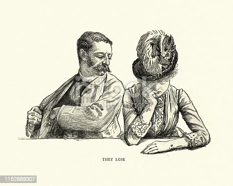 Vintage engraving of Character sketch of Male and Female gamblers, they lose, Monte Carlo casino. Visit to Monte Carlo by Paul Renouard, 1886, 19th Century