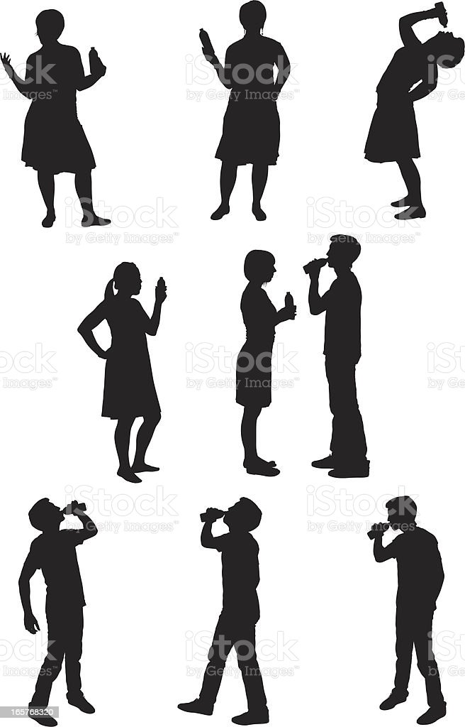 Male and female silhouettes drinking royalty-free stock vector art