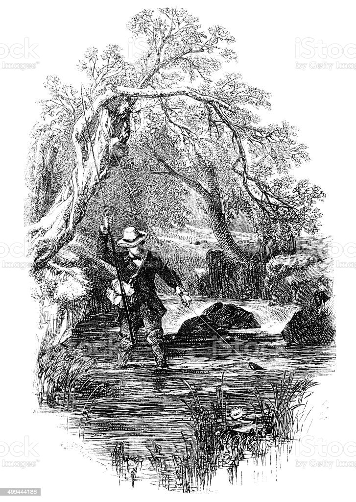 Male angler fly fishing in a river vector art illustration