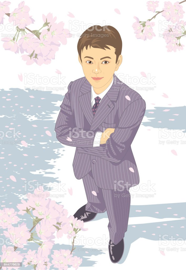 Male arm in arm under the cherry blossoms. vector art illustration