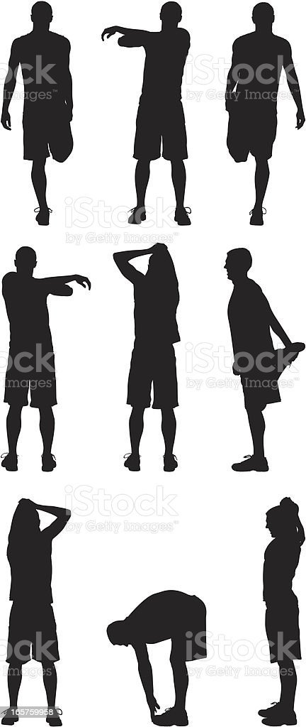 Male athletes stretching out royalty-free stock vector art