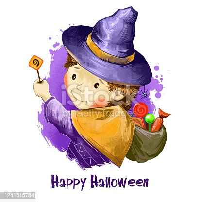 istock Male child wizard cute hat with bag full of sweets and magic wand. Boy celebrating halloween with treats. Trick or Treat concept. Happy Halloween digital poster isolated on white background banner. 1241515784