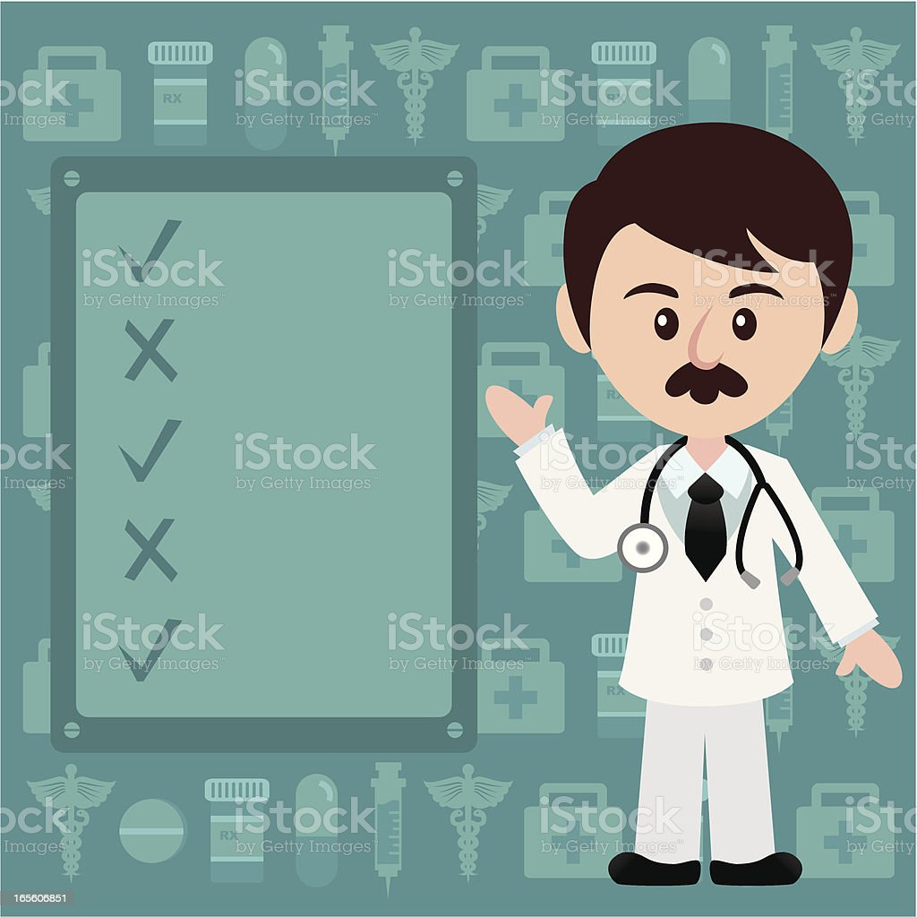 male doctor with message board royalty-free stock vector art