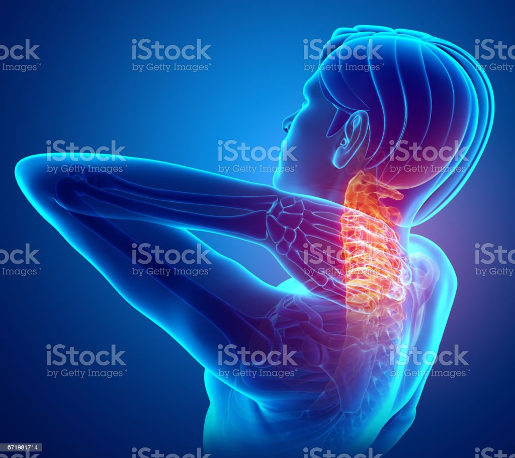 Male Feeling the Neck Pain vector art illustration