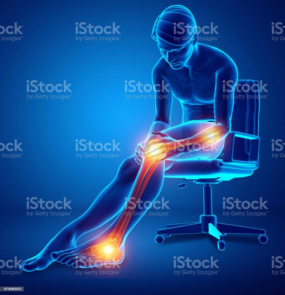 Male Leg Joint Pain vector art illustration