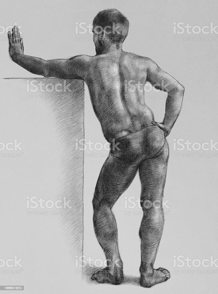 Male Nude Art Model vector art illustration