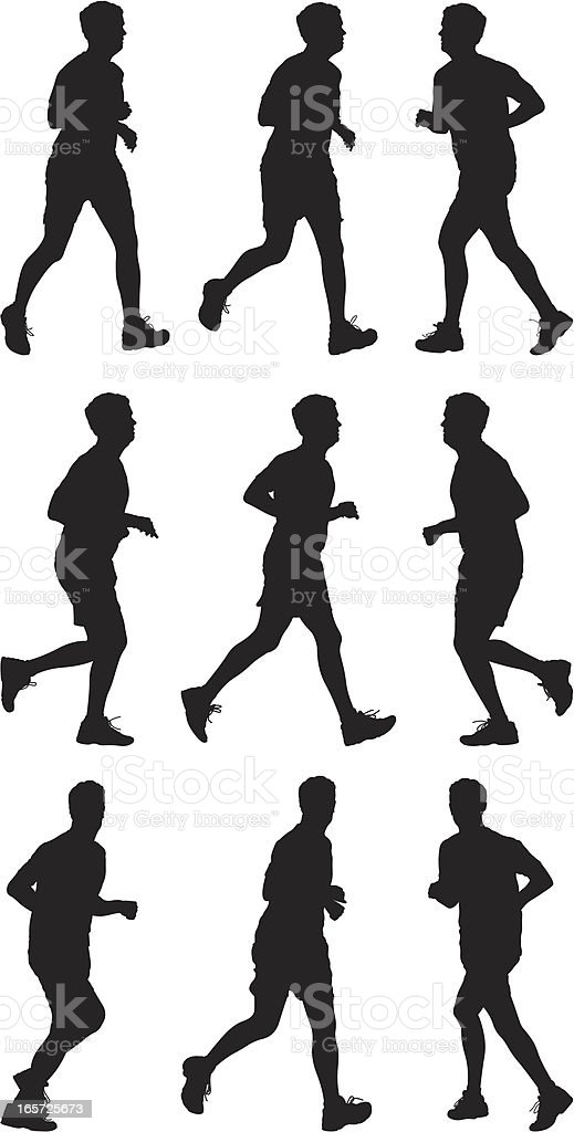 Male runners in action royalty-free stock vector art